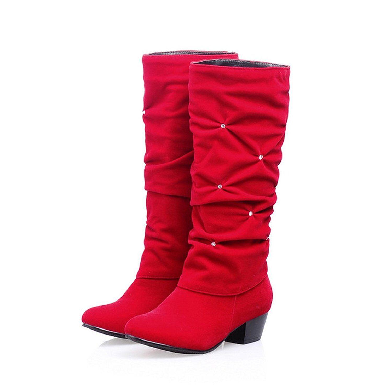 Women'S Boots Rhinestone Wedge Heel Mid Calf