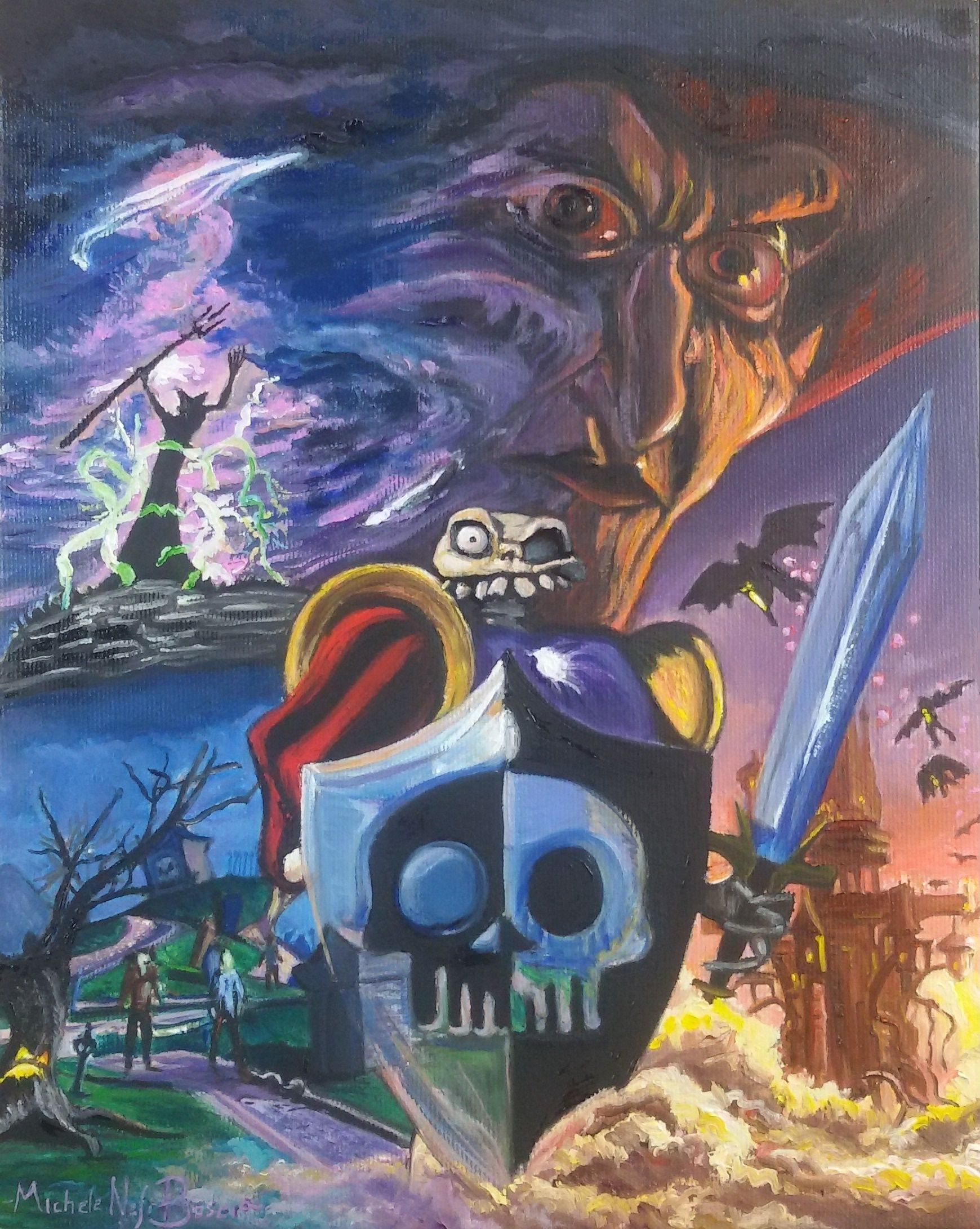 Oil On Canvas Medievil Painting Oil Canvas Medievil Painting