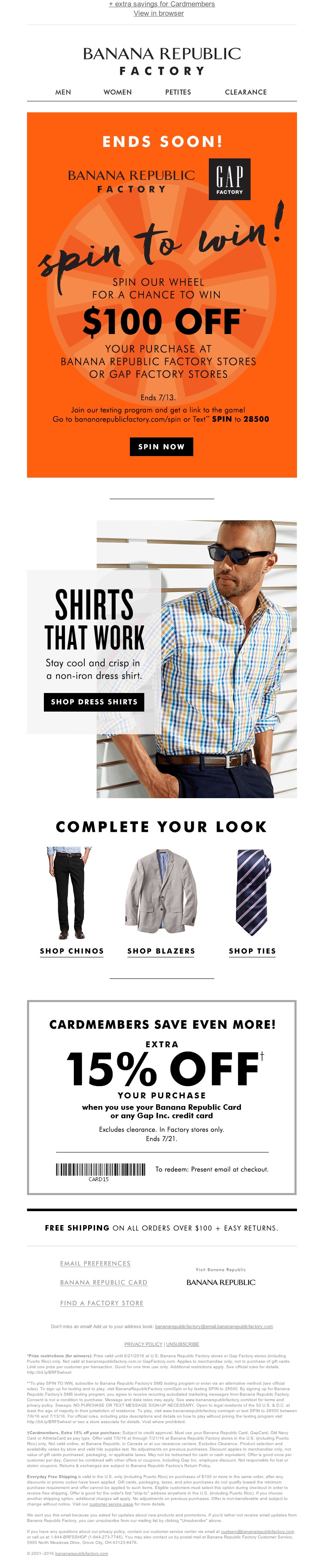 Banana Republic Factory Store - Shirts that work (so you don't have to)
