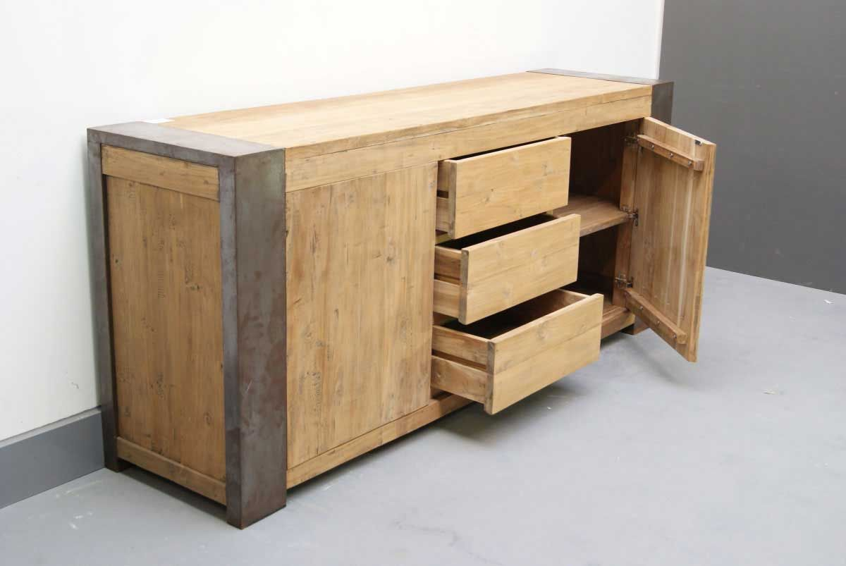 Sideboard Holz Stahl Industrie Look Offen Mit Bildern Sideboard Holz Holz Stahl Kuche Holz