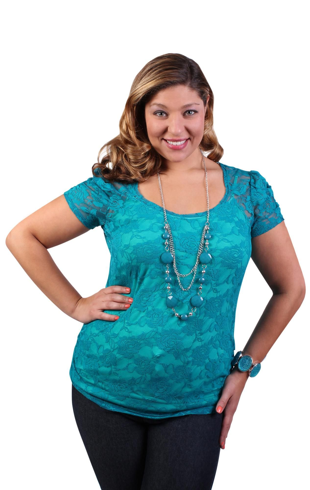 Lace short sleeve tee with necklace in teal deb ideal closet