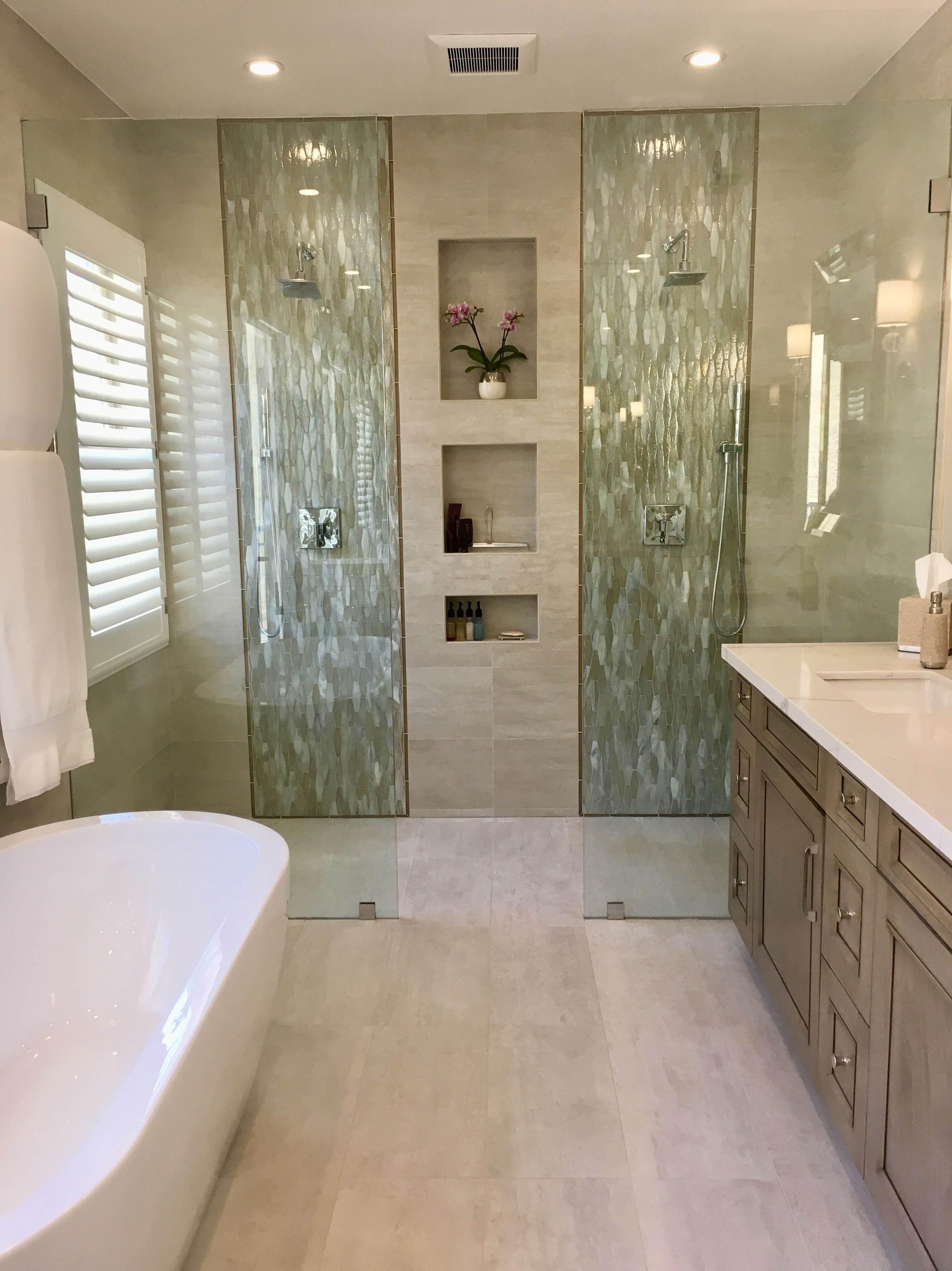 Beautiful Classy And Comfortable Dual Walk In Shower In Recent