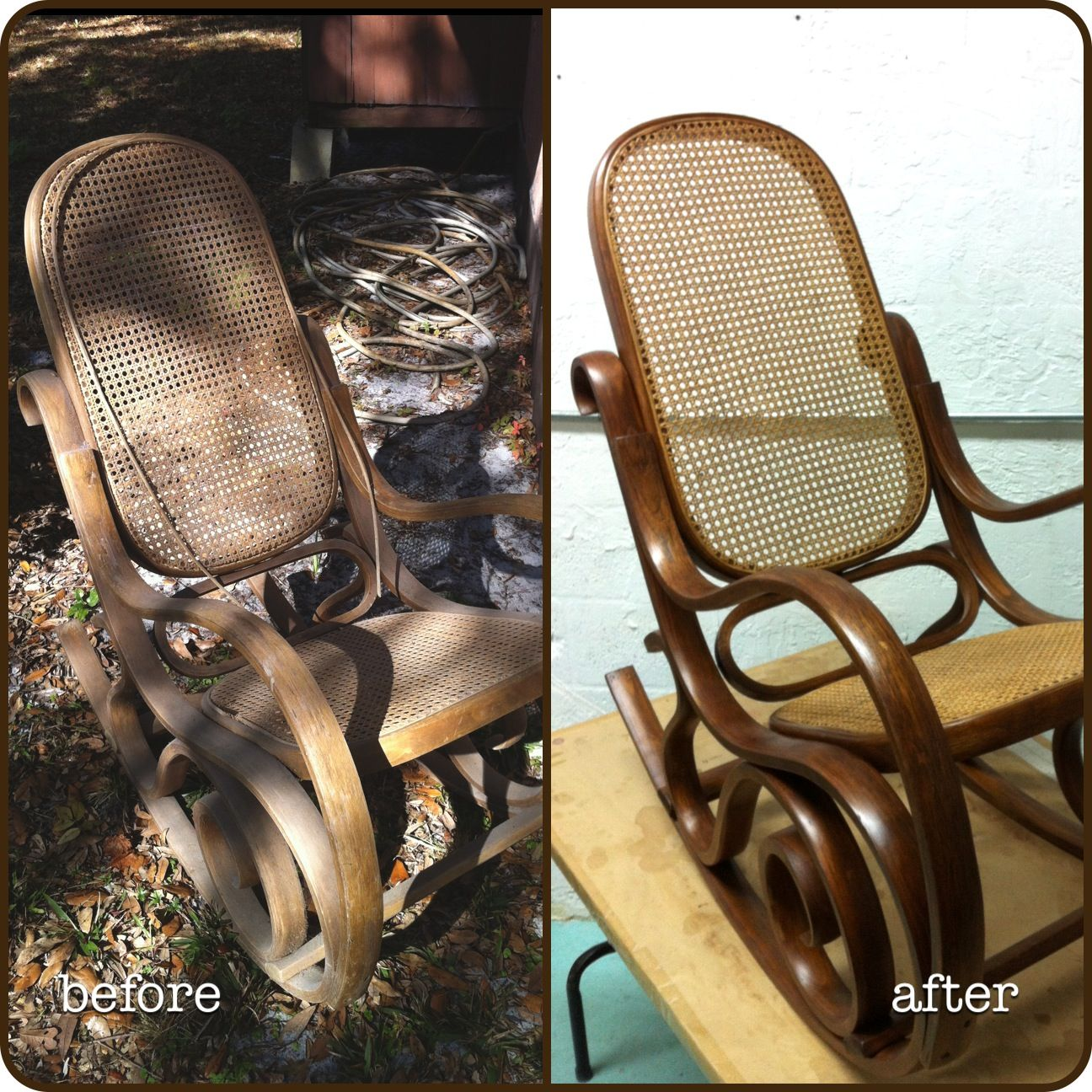 Incredible Vintage Bentwood Cane Rocker Rocking Chair I Refinished Machost Co Dining Chair Design Ideas Machostcouk