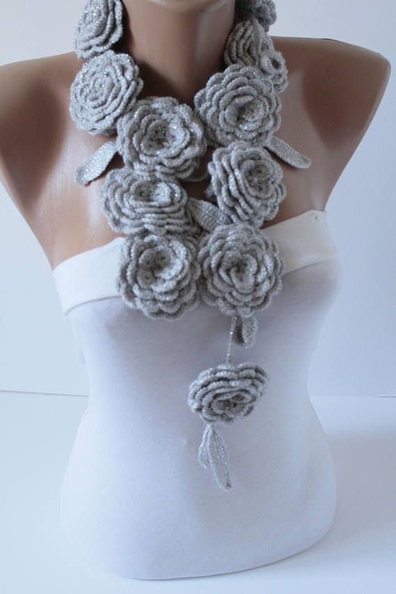 crochet lariat scarf crochet necklace crochet scarf crochet necklace scarves for her crochet flower scarf