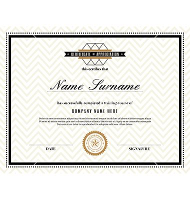 Retro frame certificate design template vector by kraphix on - microsoft word certificate borders