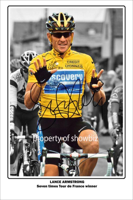 Lance Armstrong Autograph Photo Of The Tour De France 7 Times