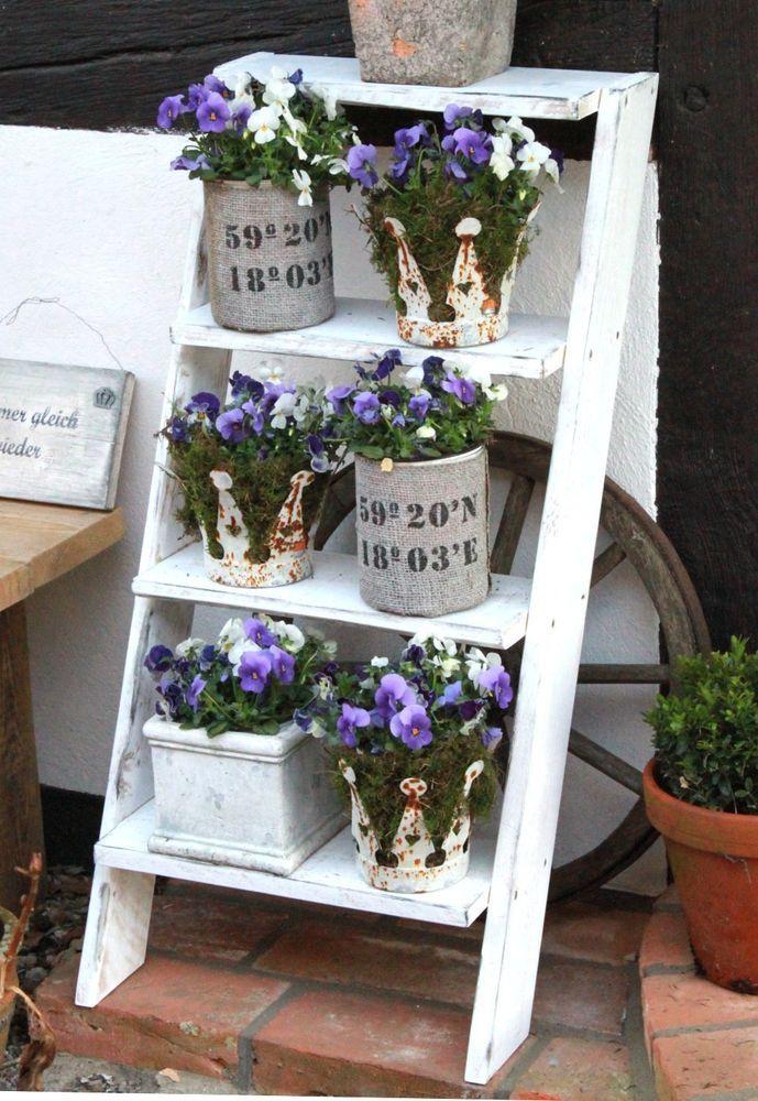 Shabby Blumentreppe Holz Blumenständer Pflanzentreppe ...