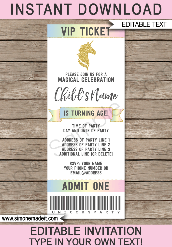 Unicorn Ticket Invitations template – Printable Ticket Invitations