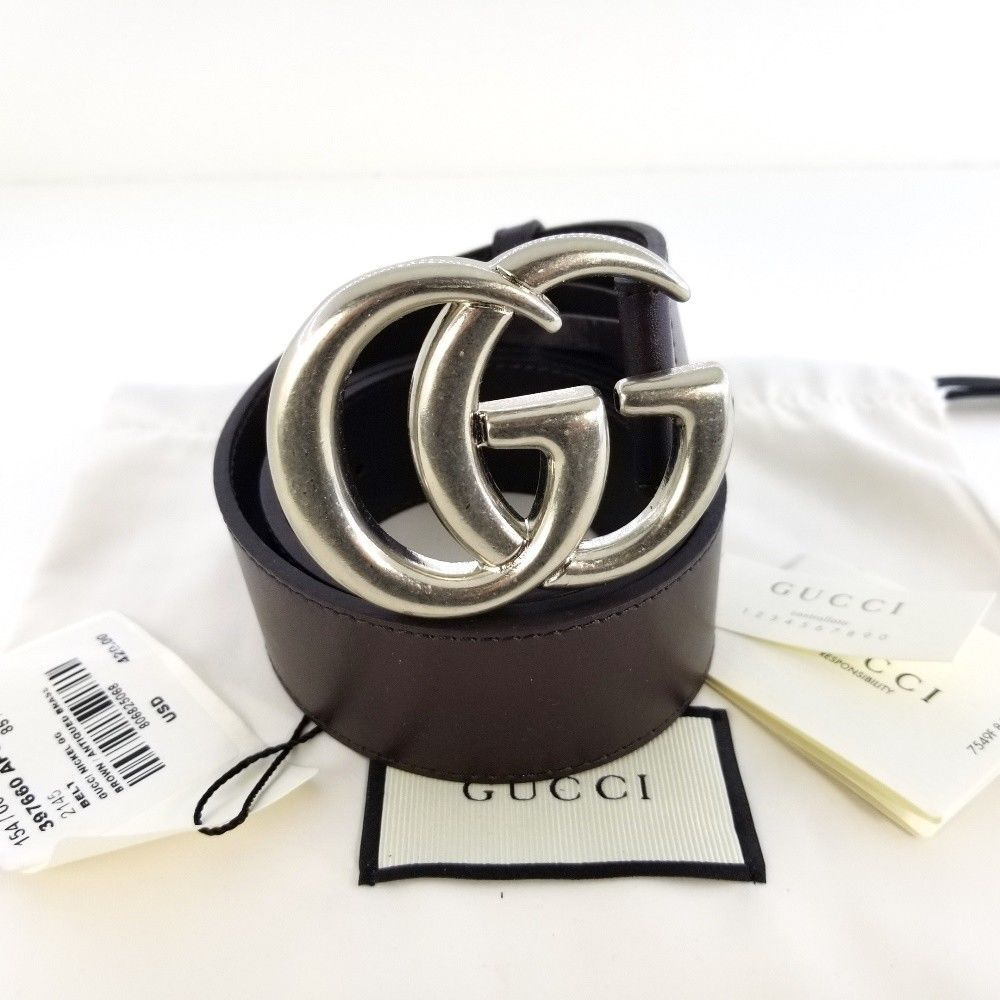 eBay  Sponsored Authentic Brown Leather Gucci Belt w Double G Silver Buckle  Size 85   34 Nobox 5d7bff88605