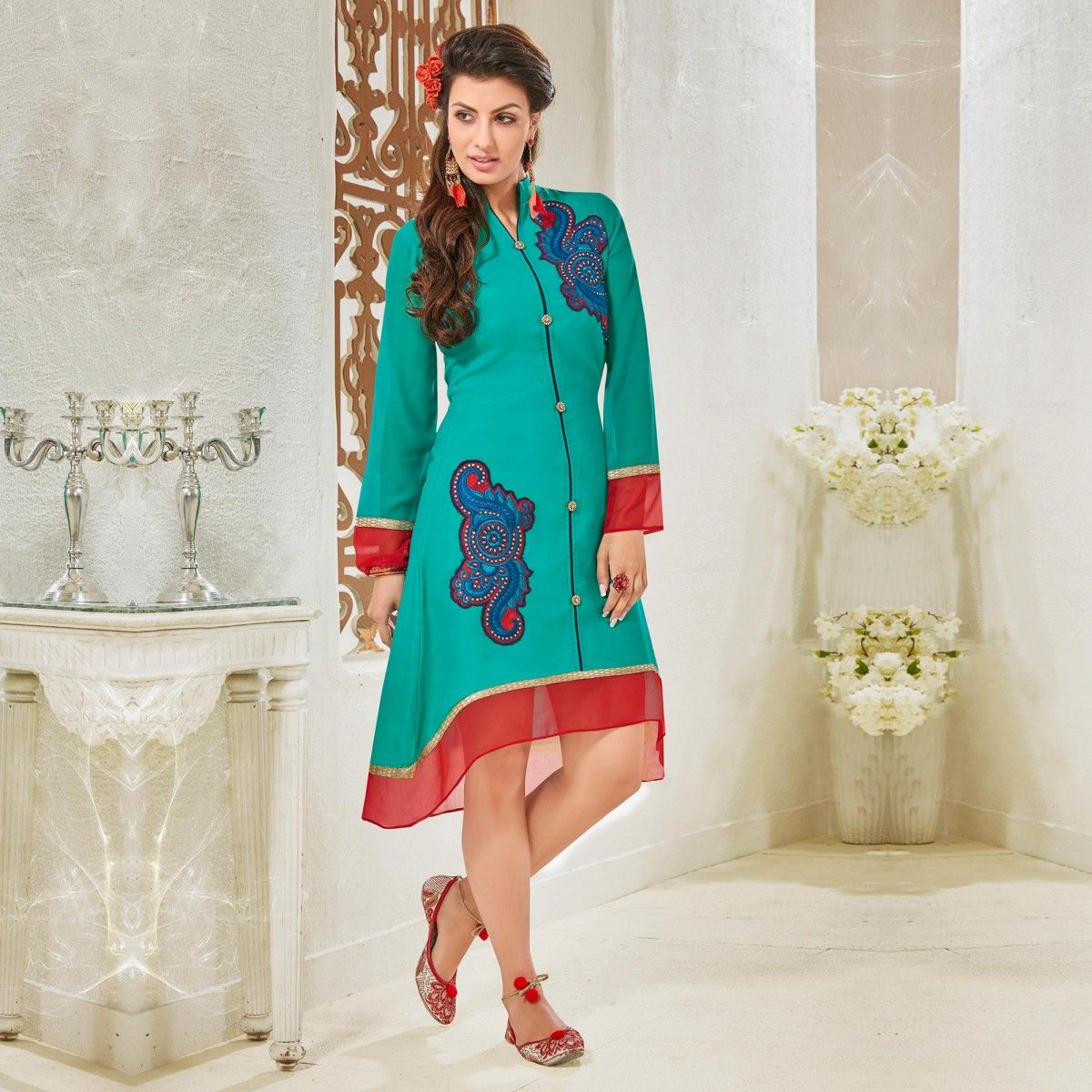 d417832ff Buy Turquoise Party Wear Georgette Kurti for womens online India ...