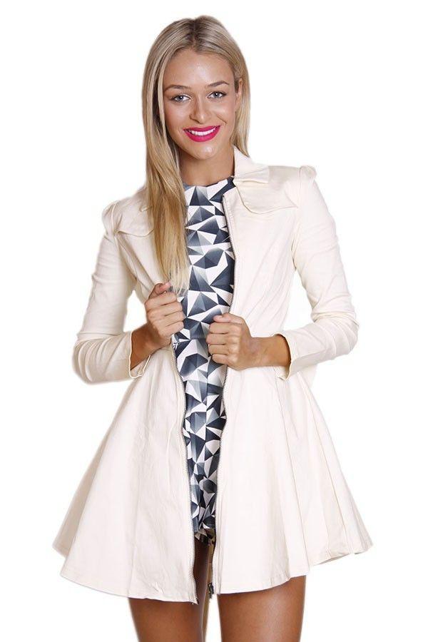 Cream Bow Back Trench Coat. #ustrendy  www.ustrendy.com