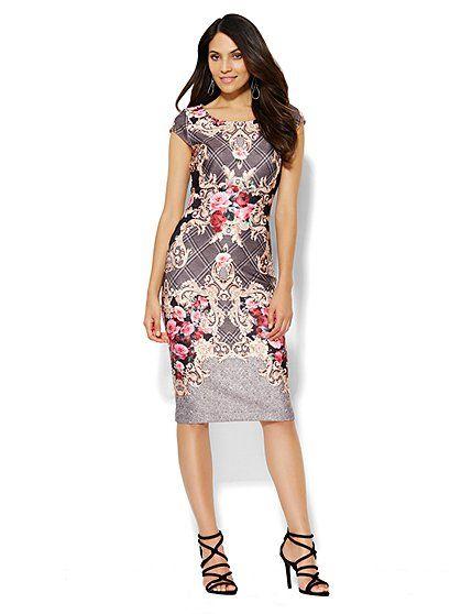 Scuba Midi Sheath Dress - Scroll/Plaid Print - New York & Company ...