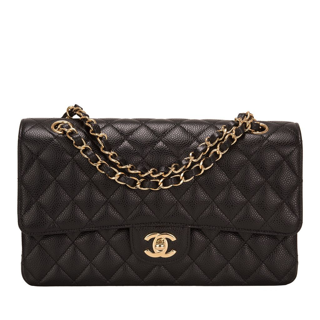 Chanel Black Caviar Medium Classic Double Flap Bag Chanel Quilted Bag Flap Bag Bags
