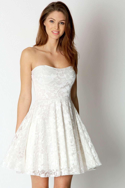 Women S Lulu Lace Bandeau Skater Dress Boohoo Uk Cocktail Dress Lace Strapless White Lace Dress Lace White Dress [ 1500 x 1000 Pixel ]