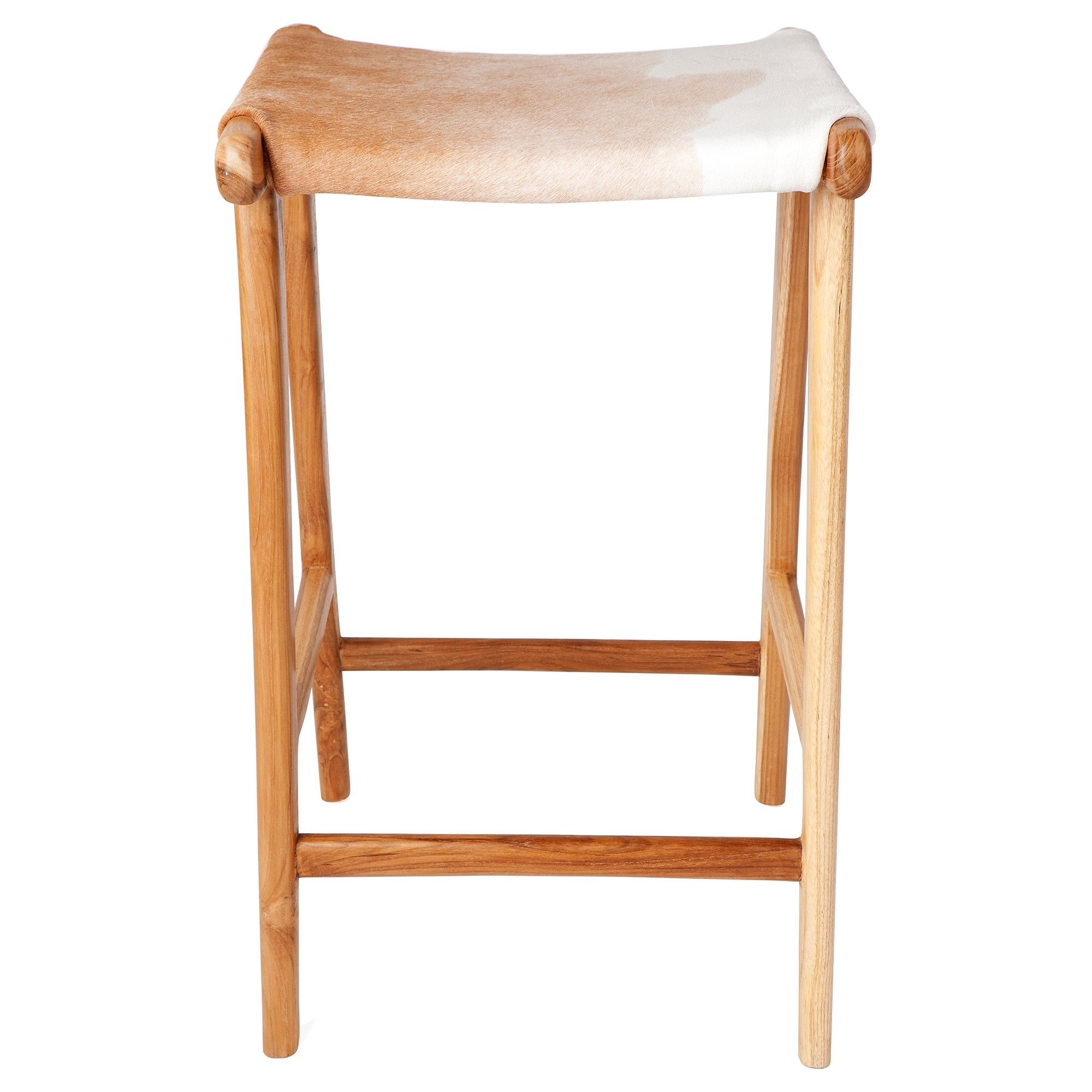 Malta Solid Teak Timber Counter Stool with Cowhide Seat, Brown/White ...
