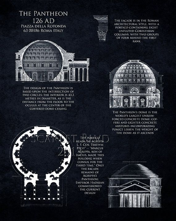Architecture Blueprints Art clearance pantheon blueprint art print, pantheon architecture art