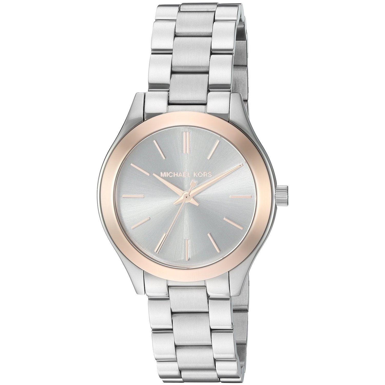 a69f9b7967dfc Michael Kors Women s MK3514  Mini Slim Runway  Stainless Steel Watch ...