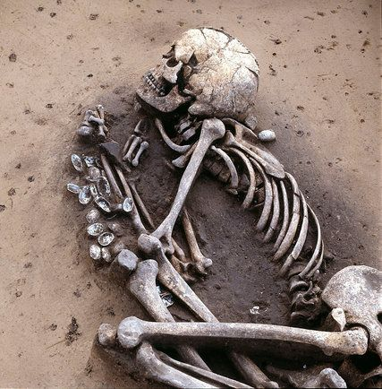 A skeleton buried by a Middle Neolithic culture found near Saxony-Anhalt, Germany. A review of DNA from skeletons across Europe indicated that today's Europeans are descended from three groups who moved there at different stages of history.