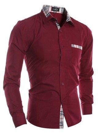 7764f1ed02 Camisa Casual Moderna Sólida - Detalle Fashion a Cuadros - en Rojo ...