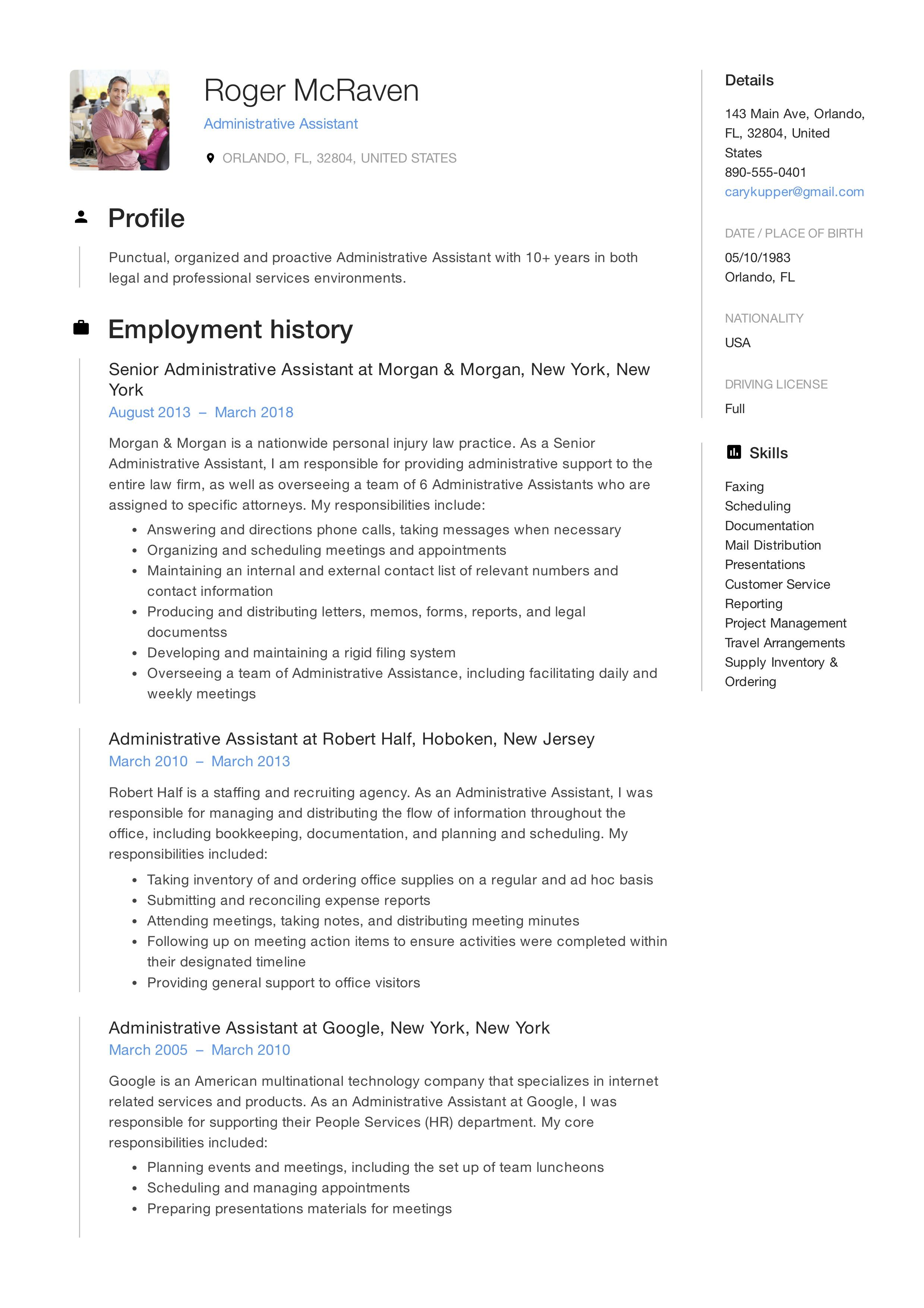 Free Administrative Assistant Resume Sample Template E Administrative Assistant Job Description Administrative Assistant Resume Administrative Assistant Jobs