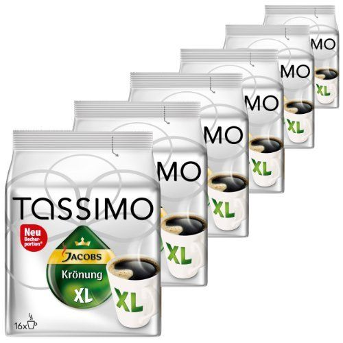 Tassimo Jacobs Krönung XL, Pack Of 6, 6 X 16 T-Discs