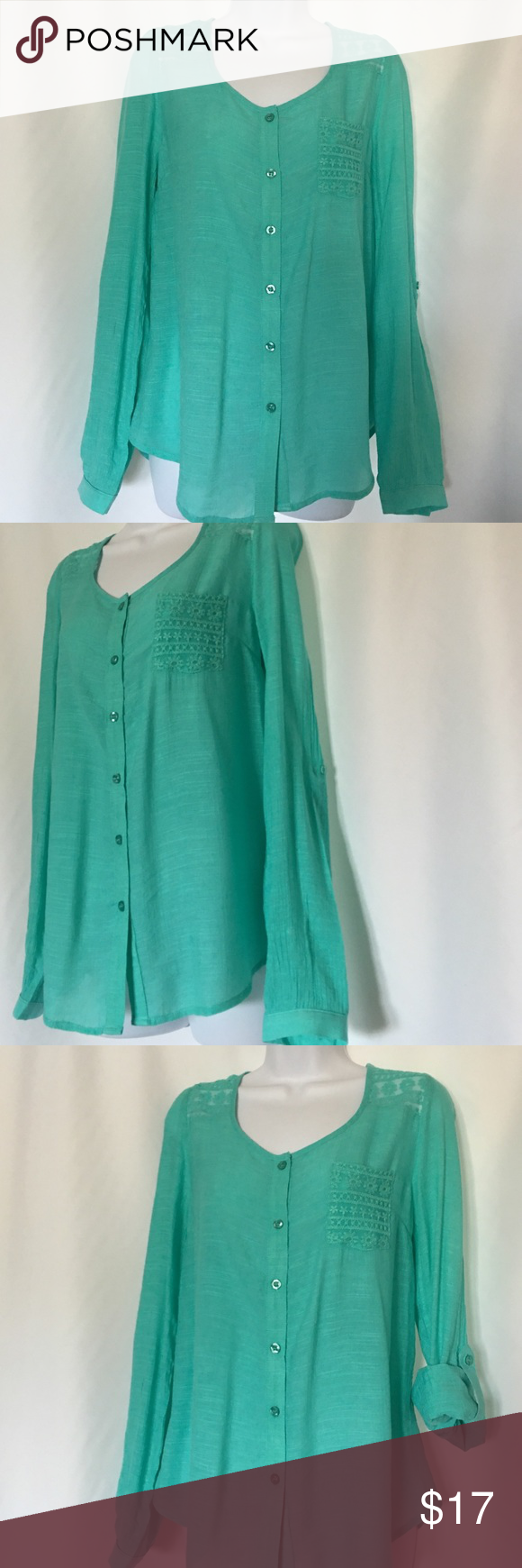 "E&M SIZE L BEAUTIFUL MINT COLOR TOP Size is smaller,fits to 8-10 ,Length 27"" Tops"