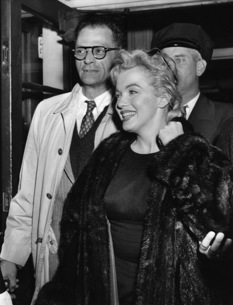 Marilyn Monroe and Arthur Miller leaving England after the completion of The Prince and the Showgirl, November 20, 1956.