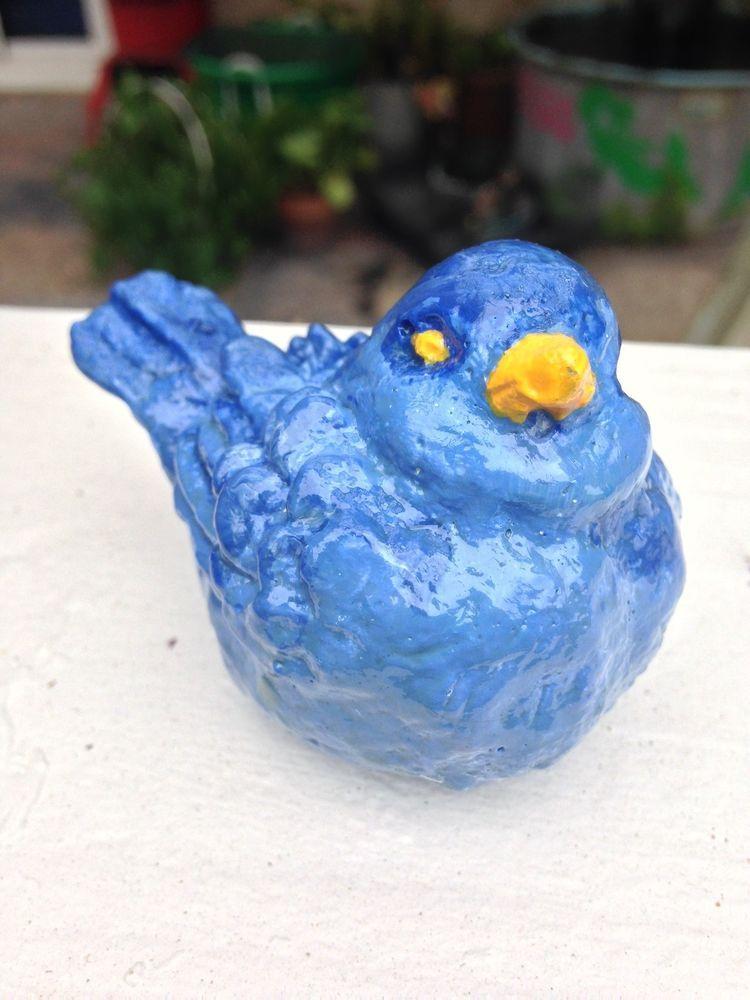 yellow cement bird/ Indoor/outdoor decor/ Home/Garden art/Handmade/hand painted