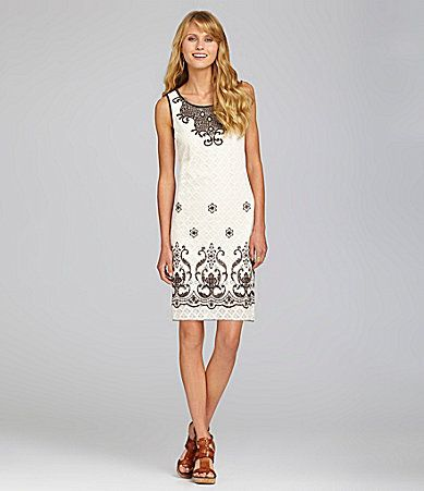 Chelsea and Violet Embroidered Lace Dress #Dillards