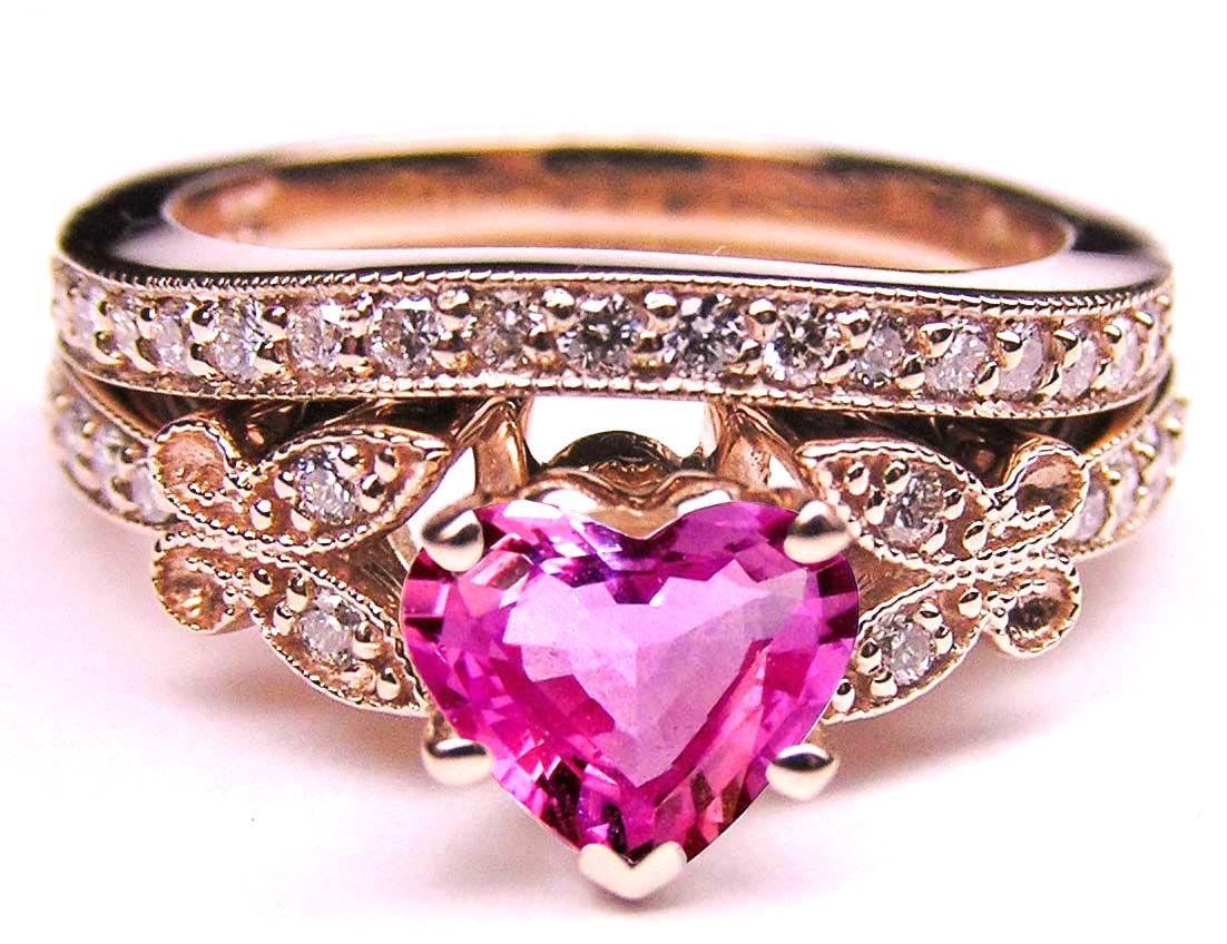 European Engagement Ring - Pink Sapphire Heart Shape Diamond ...