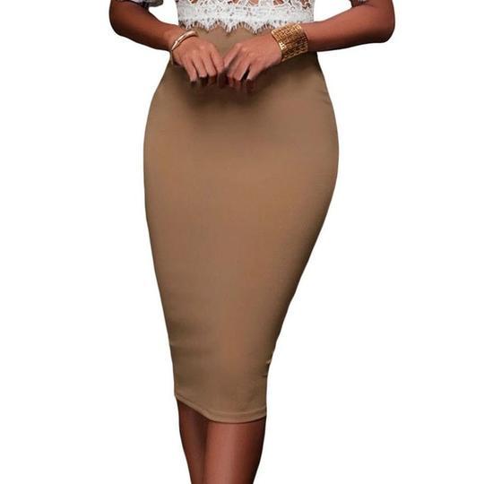 Ladies Knee Length Bodycon Womens High Waisted pencil Fitted Plain Midi Skirt AA
