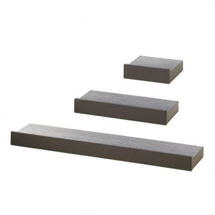 Wholesale Sleek Wall Shelves: Black Wood Floating Wall Shelves Set Of 3