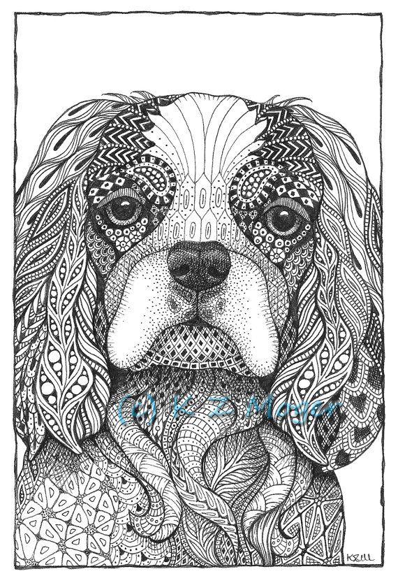 Small Breed Dog Portraits Matted Print Of Original Drawing Select Small Breeds Mandalas Animales Patrón Zentangle Mandalas Para Colorear Dificiles