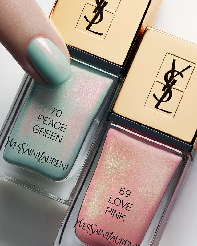 La Laque Couture the Opalescents in Peace Green and Love Pink, $38 each