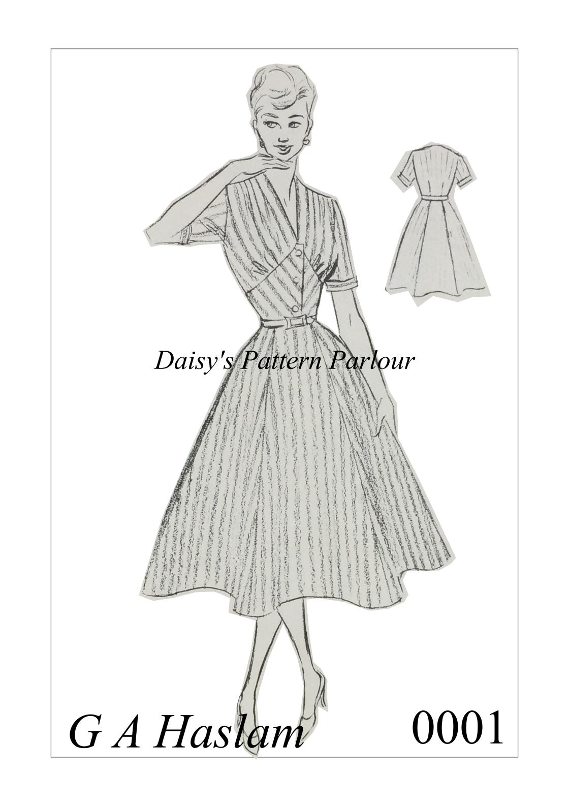 Vintage Sewing Pattern 1950s Rockabilly Full Circle Skirt Dress ...
