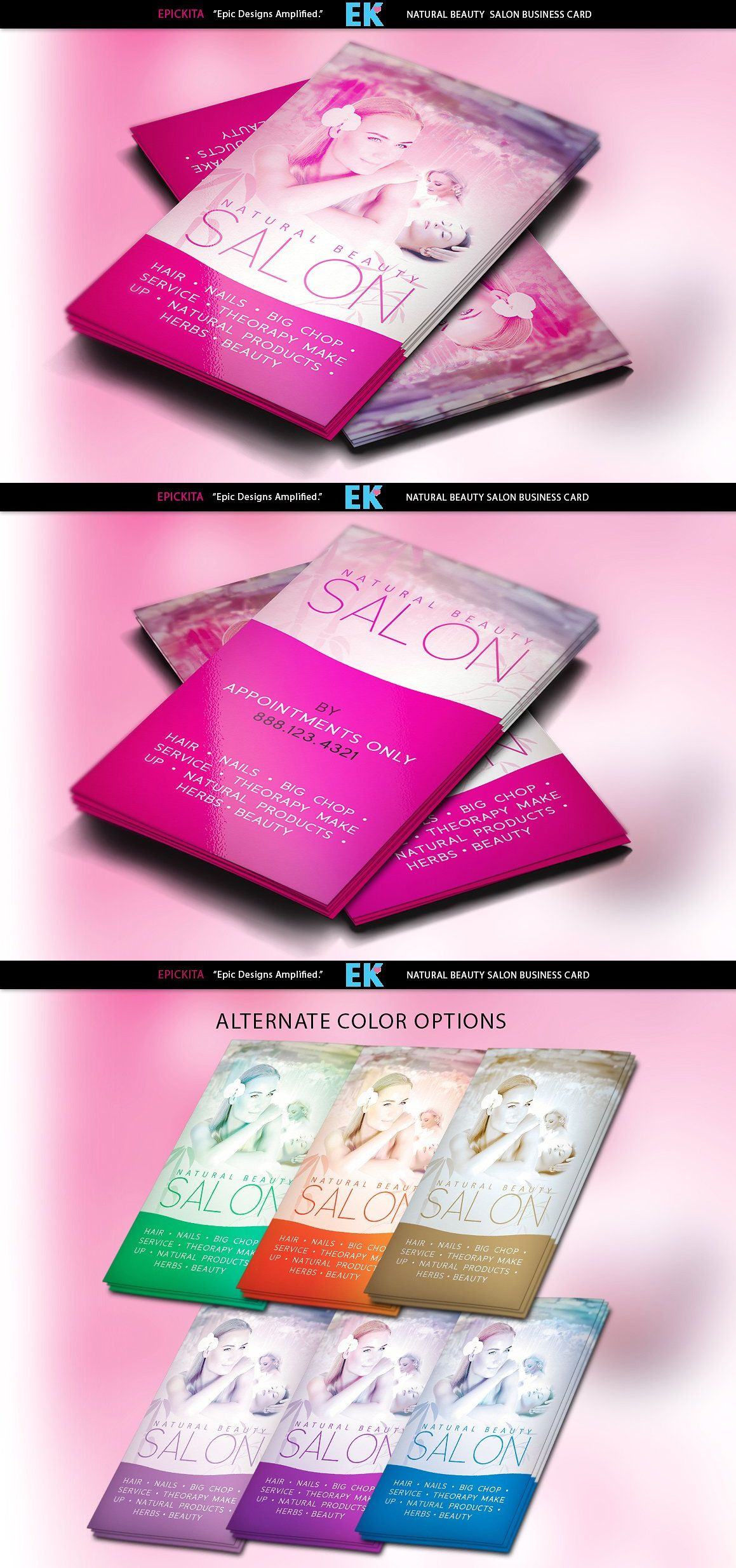 Natural Beauty Salon Business Cards Templates PSD | Business Card