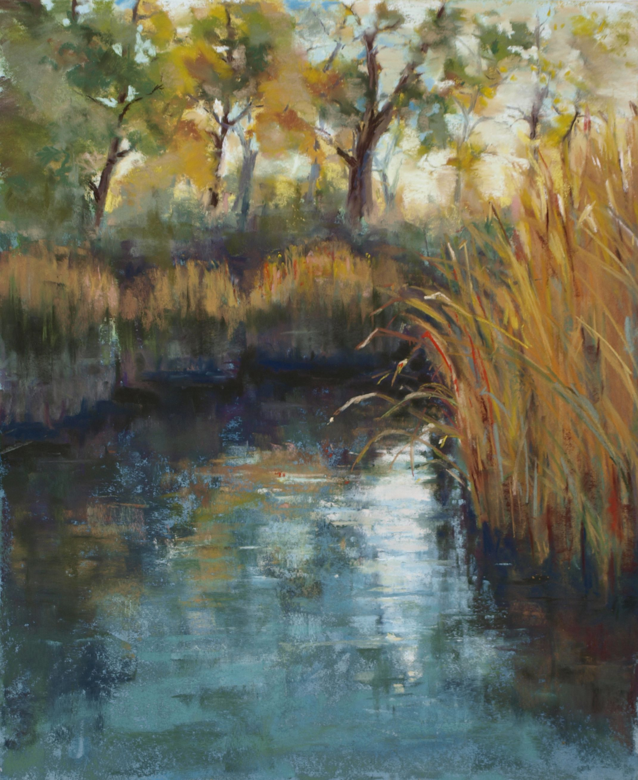 Pastel Painting River Glow By Justine Richardson Pastel Landscape Landscape Paintings Landscape Art