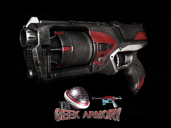 Nerf Strongarm Custom Prop Replica pro-painted Mass Effect N7 Hellboy style Art By Artist Nelson