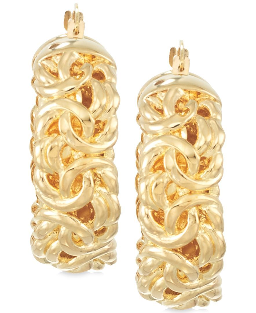Signature Gold Byzantine Hoop Earrings in 14k Gold over Resin