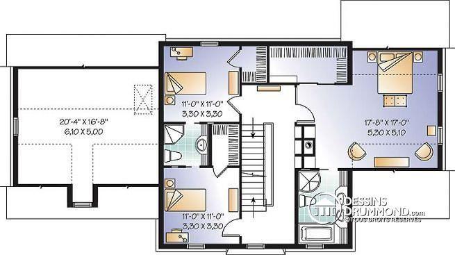 W3866 - Maison Américaine 3 étages, 3 à 5 chambres, suite des