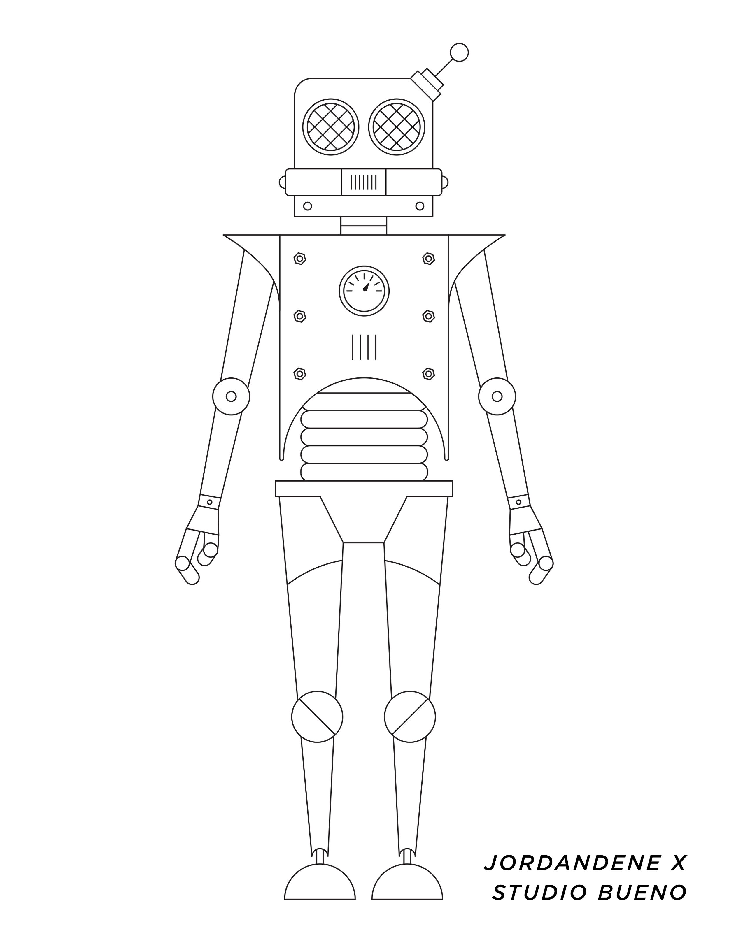 Printable Coloring Page | Robot and Coloring books