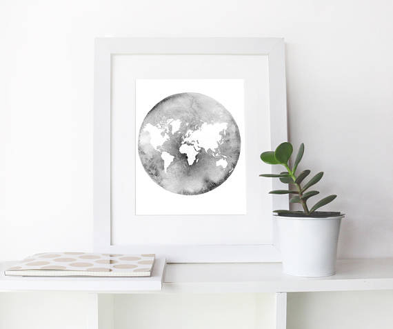 Printable Art World Map Wall Art Instant Download Map Of The - A picture of the world map