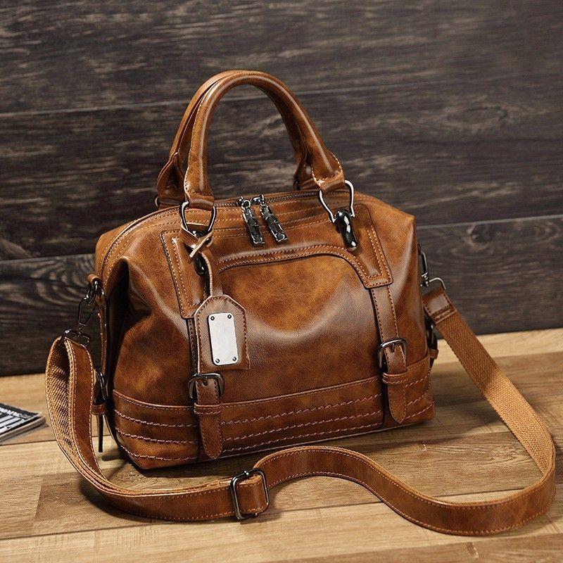 1a78427b03a5 LUYO Vintage Boston Oil Wax Leather Women Messenger Bags Luxury Handbags  Women Bags Designer Shoulder Bag
