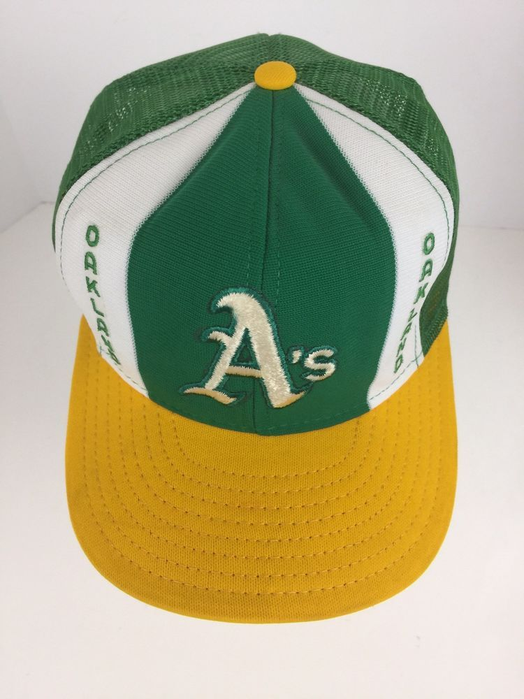 2aff48830ba Vtg Oakland A s Athletics Snapback Hat Cap Lucky Strips LARGE Mesh Double  Knit