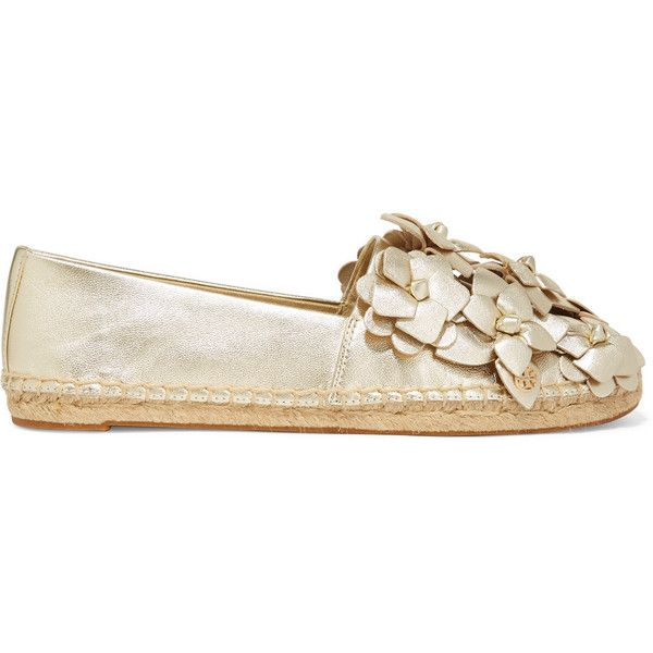 c76ff73557bdc5 Tory Burch Blossom metallic appliquéd textured-leather espadrilles  (3.085.160 IDR) ❤ liked on Polyvore featuring shoes
