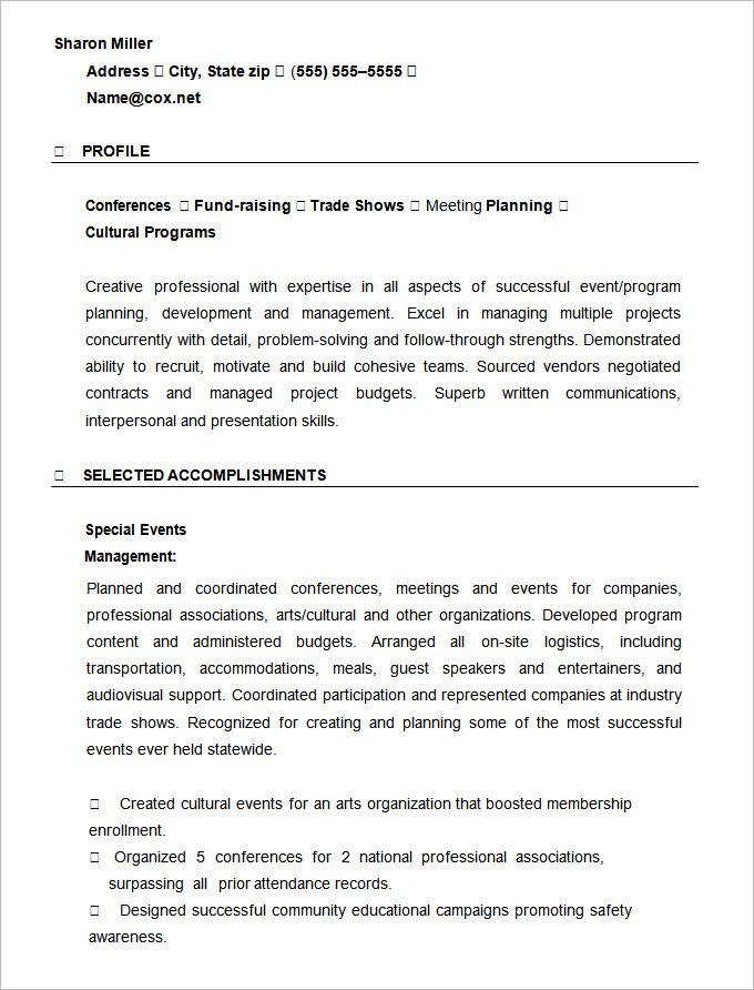 Event Planner Resume Template , Mac Resume Template \u2013 Great for More - event planner resume template