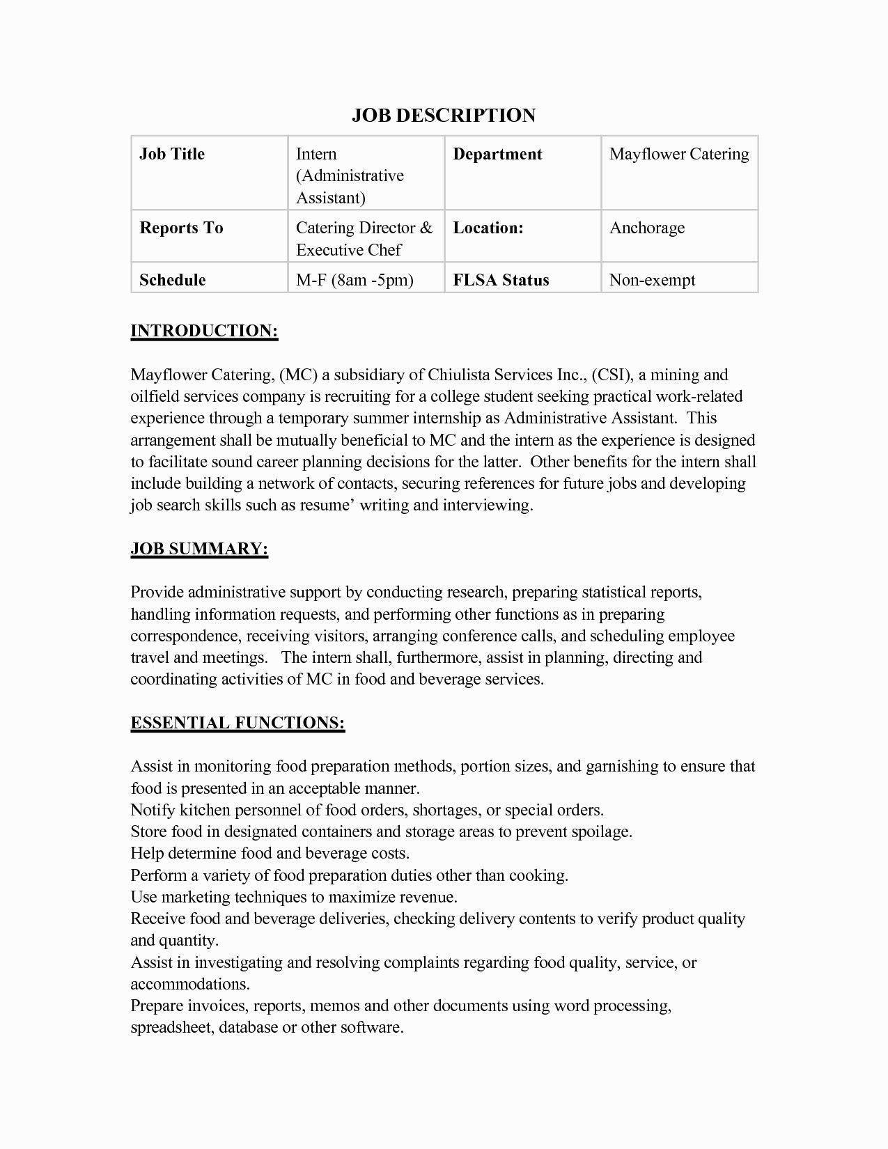 catering job description for resume impressive catering