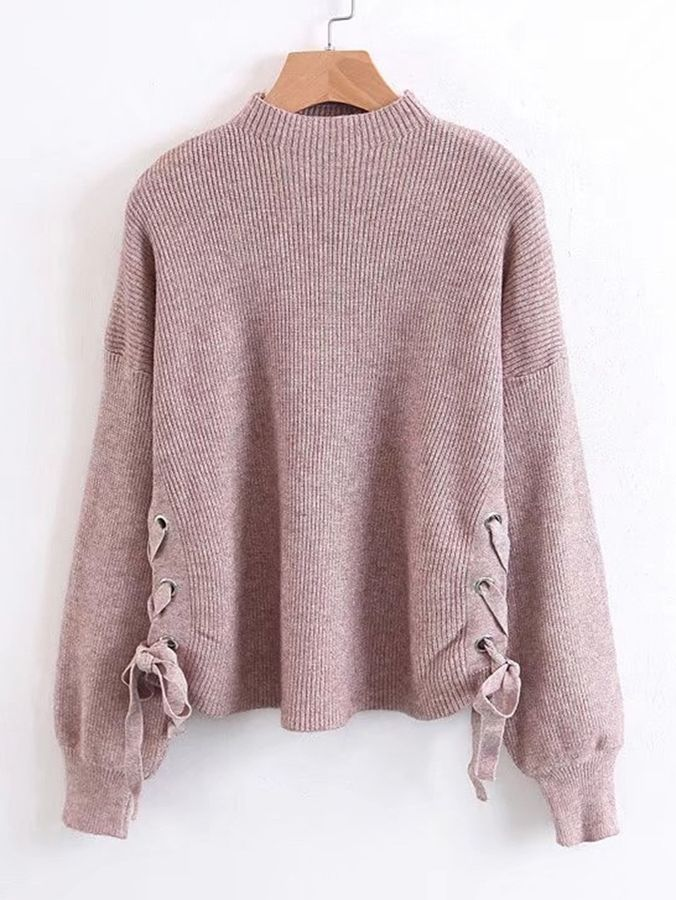 Shein Lace Up Side Ribbed Knit Sweater  e37bf4cbc