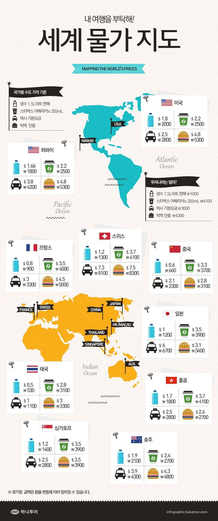 세계 물가 지도 하나투어 여행 카드 지도 지도 디자인