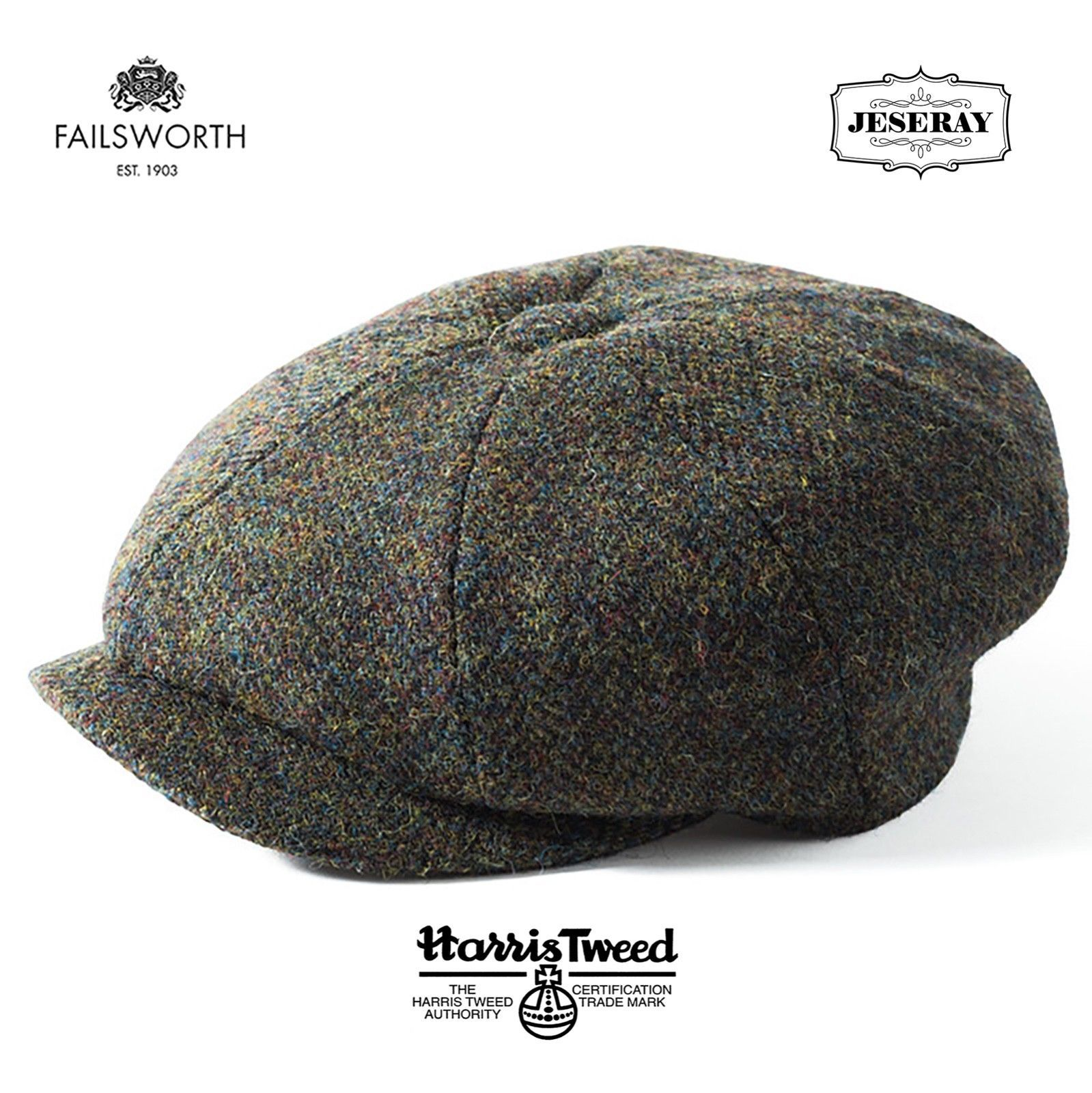 Mens Hats 163619  Failsworth Carloway Harris Tweed Wool Green Brown Newsboy  Cap Hat -  BUY IT NOW ONLY   32.95 on  eBay  failsworth  carloway  harris   tweed ... 5b3c994ae78